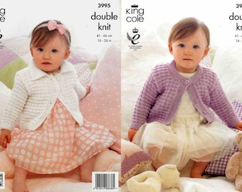 King Cole Knitting Pattern 3995~Two Sparkly Cardigans~DK~16-26""