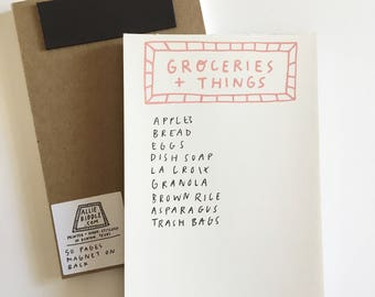 Groceries + Things Notepad. Magnet on back. Grocery List.