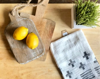 Flour Sack Towel Hand Painted- Geometric
