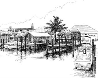 Stans on Goodland fl, Island woman on goodland, Florida ink drawing, seaside art. Naples fl art.Florida beach art,Naples  prints,