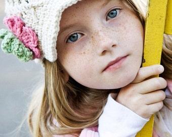 Ecru Girls Newsboy Hat Kids Hat Crochet Hat Childrens Hat Newsgirl Hat White Hat Ecru Hat Girls Winter Hat Spring Hat Tween Hat 12-24 Months