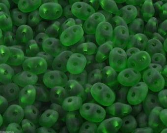 10 gr SUPERDUO 2, 5x5mm - matte - green GREEN - Super Duo Beads X 42