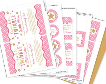 Twinkle Twinkle Little Star Party Decorations - Pink and Gold First Birthday Party Invitation - Little Star Pink Birthday Party Supplies