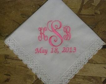 Personalized Monogrammed Wedding Date Handkerchief