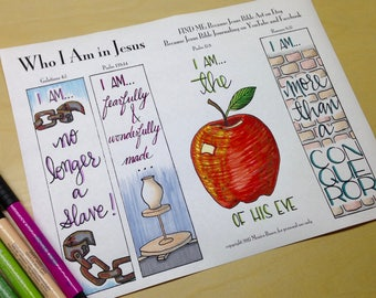 Who I Am in Jesus Bible Journaling Margin Art & Tip-in, Printable and Traceable Templates, Hand Lettering, set of 4, 1 page