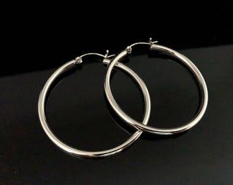 Hinged Hoop Earrings - 925 Sterling Silver - Medium Large Sized Hoop Earrings -- Silver Hoops