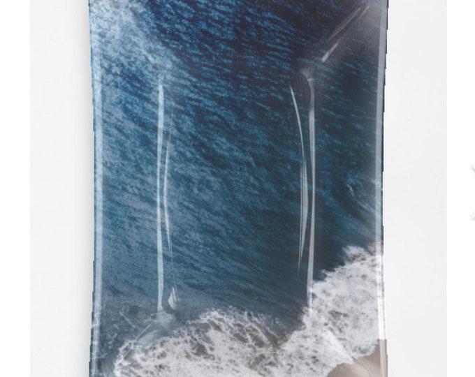 Ocean Blue Oblong Glass Decorative Tray