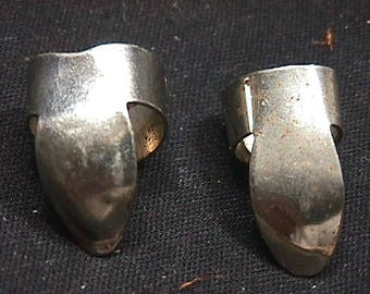 Two Antique Unmarked Metal Finger Picks Ready To Use   34 GA