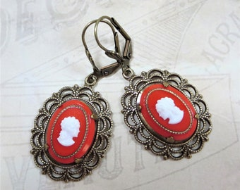 Cameo Earrings Victorian Earrings Red White Cameo Jewelry Downton Abbey Earrings Jewelry Gift
