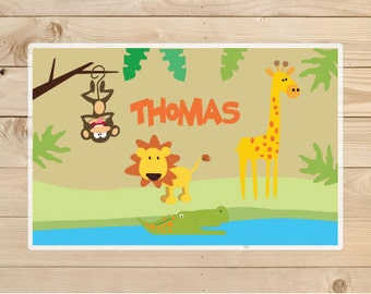 Jungle Kids-Personalized-Placemat-Personalised-jungle placemat-Placemat-for-girls