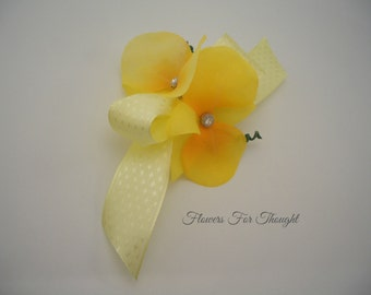 Yellow Orchid Corsage, Wedding Party Gift, Bridesmaids Flowers, Prom, Homecoming