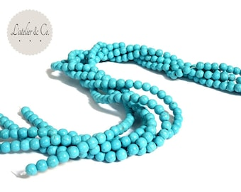 25 beads 6mm turquoise blue [CANYON] Indian turquoise