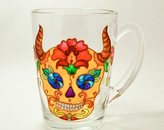 Skull Mug, Day of the Dead, Folk Art Mug