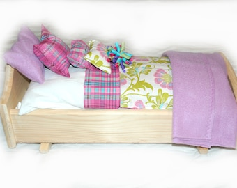 Rock Her to Sleep!  Single Doll Bed - American Made Girl Doll Bed - Fits AG Doll and 18 inch doll BittyBaby 18' Doll Furniture