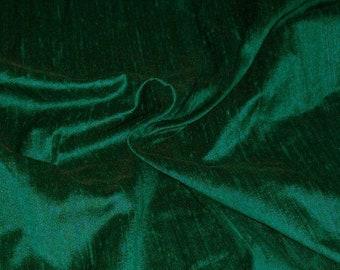15% OFF One yard of 100 percent pure bottle green dupioni silk