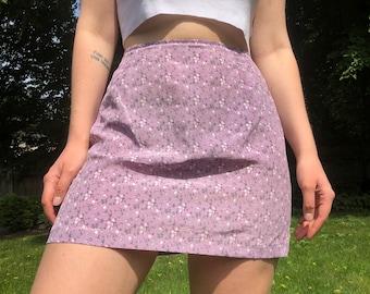 Vintage Lilac Floral Print Mini Skirt