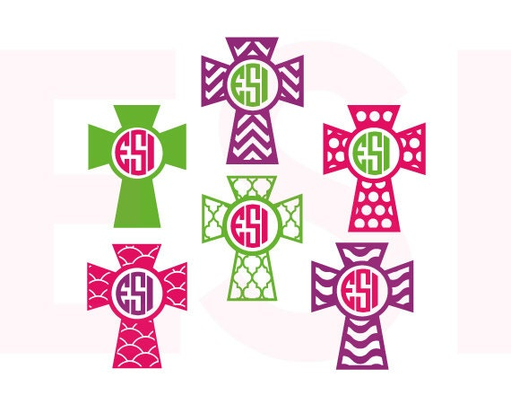 Monogram Cross Designs Svg Dxf Eps Cutting Files For Use