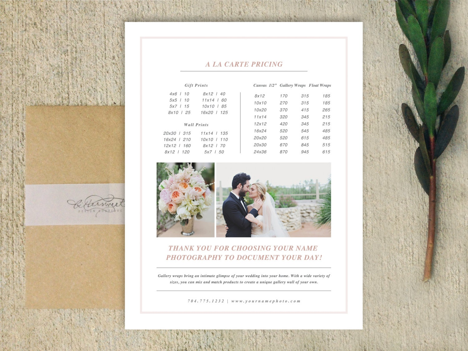 photography pricing template digital price list design for