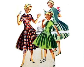 Vintage 1950s Party Dress Pattern Girols Size 8 or 14  Bust 26 or 32 McCalls 3457