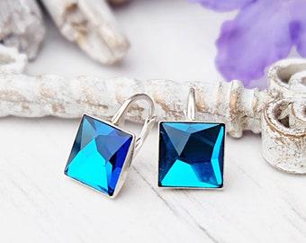 Sterling Silver earrings Small Swarovski crystals earrings Casual everyday blue crystal earrings Sky blue dangle minimalist square earrings