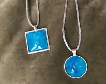 Pendant - Fluid Art - Wearable Art - Inspirational Gift - Encouragement - Original Art pendants called Seaside Sunshine