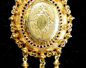 Designer Florenza Victorian Revival Double Locket Pendant with Dangling Ornaments