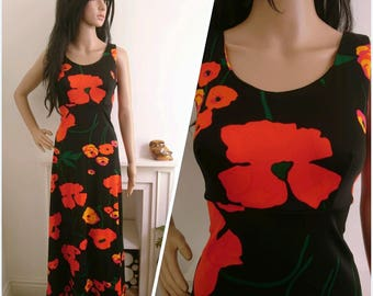 Vintage 70s Black Red Poppy Floral Evening Maxi Dress Boho S / UK 8 10 / EU 36 38 / US 4 6