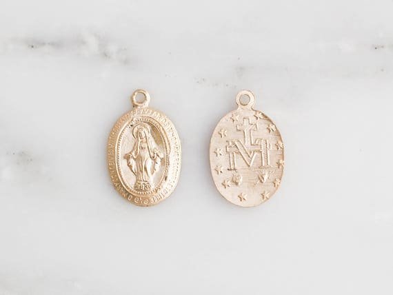 2 pieces 14k gold filled virgin mary pendant miraculous medal 2 pieces 14k gold filled virgin mary pendant miraculous medal necklace charm sterling silver virgin mary gold medallion from shoparete on etsy aloadofball Choice Image