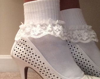 Women's lacy ankle socks, short boot socks, Ladies lace ankle socks, sexy socks, white women's ruffled socks