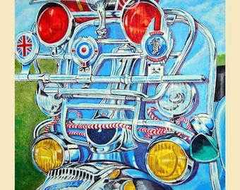 Lambretta art print, mod scooter painting,scooter art print of mod lambretta,perfect scooter gift.