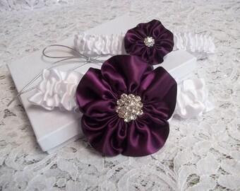 Plum Wedding Garter Set, Rose in Eggplant, Plum on a White Band, Bridal Garter Set, Wild Rose Garter - Five Petal Rose Flower