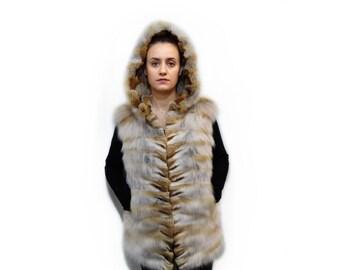 Real Fur Fox Vest,Hooded Vest F703