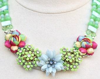 Upcycled Vintage Statement Necklace, Mint Green Pink Blue Pastel Reclaimed Antique, Collage, Flower Rhinestone Glass, Jennifer Jones, OOAK