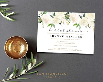 Bridal Shower Invitation Template| Instant Download | Bridal Shower Invite | white, gold, roses, floral, greenery | BRYNNE Collection | PDF