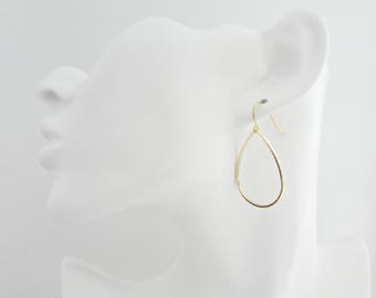 Gold Tear Drop Earrings, Gold Earrings, UK Seller, Bridesmaid Earrings, Bridesmaid Gifts, Hoop Earrings, Gold Dangle Earrings, Girl Gifts