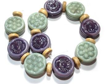 SRA Glass Lampwork Beads Handmade, Cool Comfort Color Tabs
