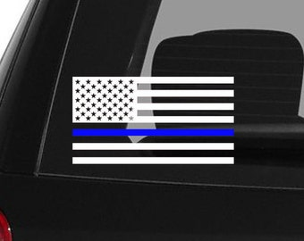 Blue lives matter American flag police car decal