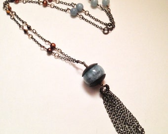 Ten Of Swords Natural Blue Aquamarine Copper Freshwater Pearl Gemstone Antiqued Brass Tassel Necklace |  Tarot Witch Jewelry Occult Amulet