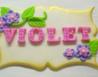 3-D Edible Fondant Name Plaque Cake Decoration