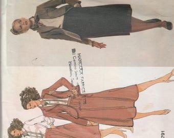 Vogue 1791 American Designer Calvin Klein Womens Jacket, Top,  and Skirt Size 14