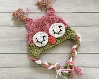 Crochet owl hat, baby owl hat, newborn owl hat, baby owl hat, sleepy owl hat, newborn photo prop, toddler owl hat, pink owl hat, baby owl
