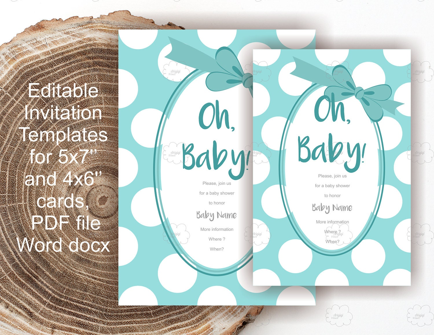 Blue Baby Shower Invites - edit text yourself - polka dot invitation ...