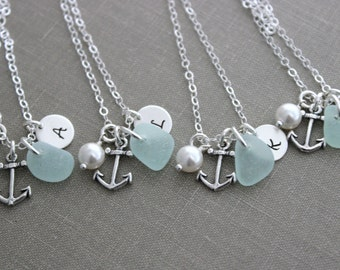 Sterling silver anchor bridesmaid necklaces with genuine sea glass and initial charm, Swarovski pearl white nautical jewelry, beach wedding