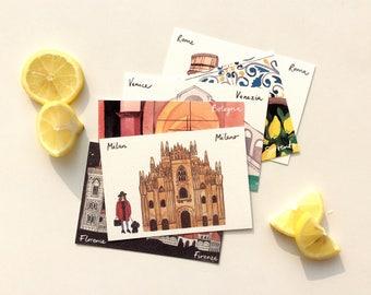Italian cities individual postcards