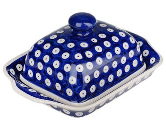 BCV Hand Painted Stoneware Butter Dish with lid 067-T-001