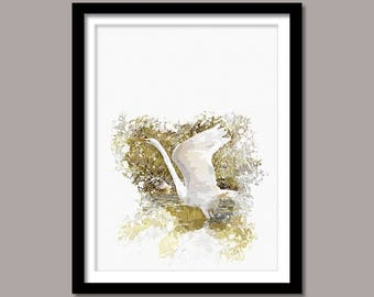 Swan Digital Print, Bird Printable Art, Swan Abstract Print, Bird Poster, Watercolor Art, Photo Manipulation, Instant Download, Wall Decor