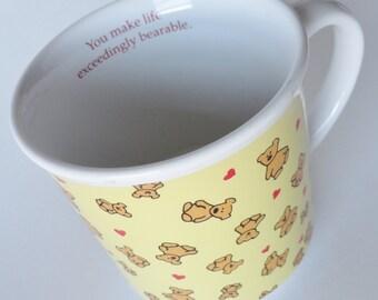 1 Vintage Hearts & Teddy Bear Mug - You Make Life Exceedingly Bearable - Yellow Coffee Mug, Bear Tea Cup, Love Birthday Gift, Retro 80s Gift