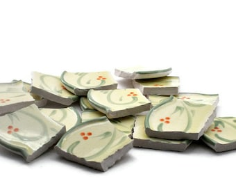 Broken China Mosaic Tiles - Large - Light Green Swirls - Scalloped Edge - Set of 16