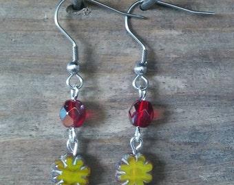 Czech glass, Magenta, Yellow flower earrings, boho earrings, boho jewelry, hippie earrings, hippie jewelry, handmade earrings, small simple