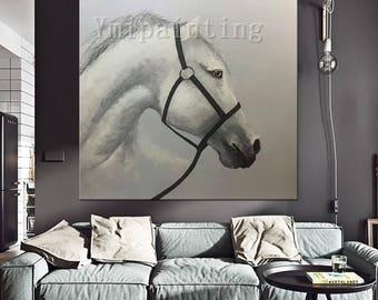 Horse painting,oil painting,horese art decor palette knife painting,Home Decor,impasto,heavy texture,huge size,Hand Painted Original paint